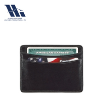 Ultra Thin Black Genuine Leather Credit Card Wallet