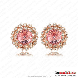 LZESHINE Diamond Earrings for Women Austrian Crystal SWA Elements 18K Rose Gold Plate Earring Women Jewelry ER0225-A