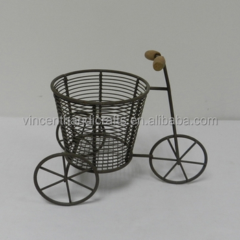 Antique rusty bike shape wire metal basket for gift or flower decoration