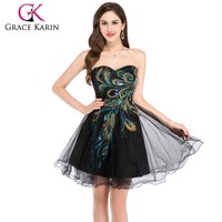 Best Selling Grace Karin Sleeveless Short Black Tulle Peacock Cocktail Dresses CL4975