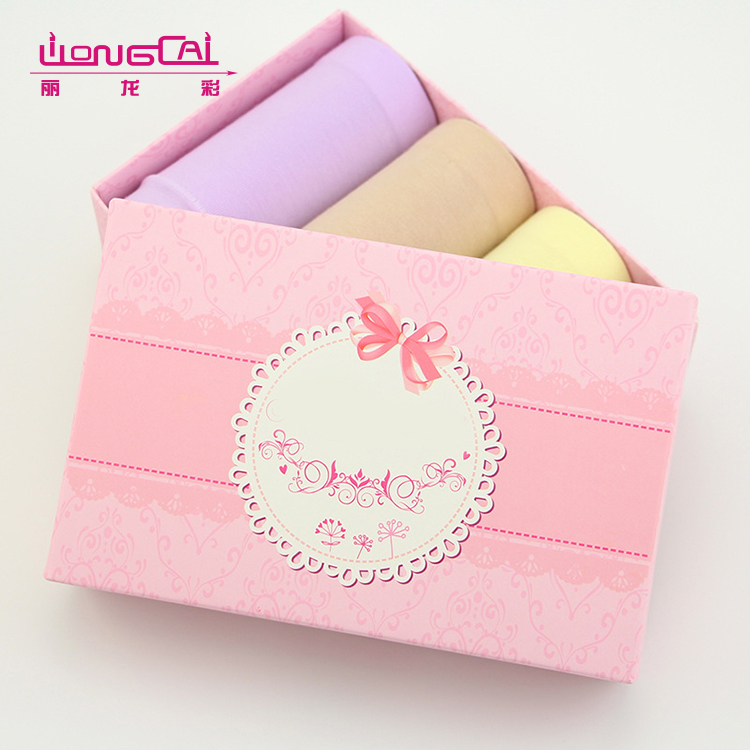 Rectangle OEM design size recycled kraft paper gift panty packaging box with lid