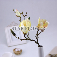 2017 Hot Sale SF2017100 Home& wedding real touch rubber Magnolia decorative artificial table flowers