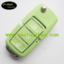 Good Price 3 button folding key casing for vw passat b5 key green color