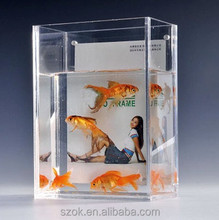 clear acrylic square desktop aquarium fish tank with picture holder promotion