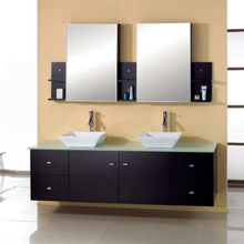 North America Hot Sale Solid Wood Bathroom Floating Vanity with Dual Sink