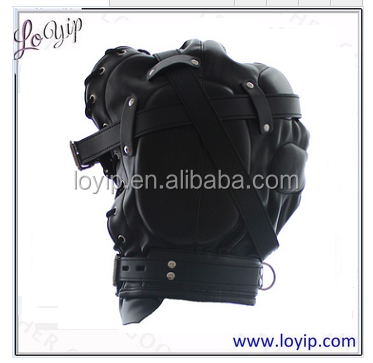 Full Head Restraints Faux Leather Hood Sex Products Fetish Bondage Slave