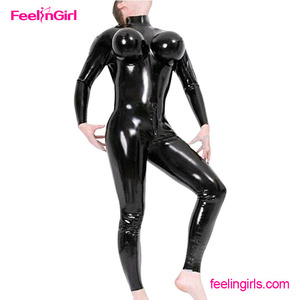 Wholesale sensual wet look cheap black latex catsuit