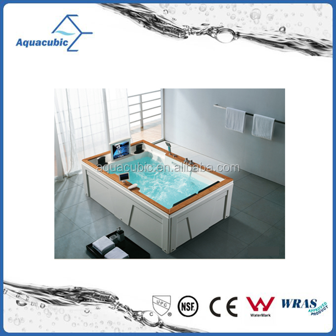 2016 newest luxury high quality jet whirlpool massage bathtub with tv bathtub with seat