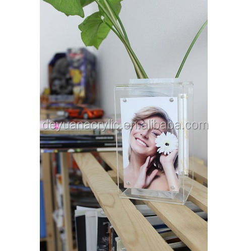 Clear Acrylic Vase with Photo Frame