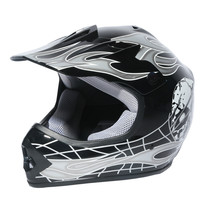 Youth Black/Silver Skull Dirt Bike ATV Motocross Helmet Goggles+gloves S M L New