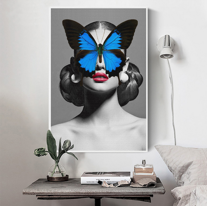 HD Beautiful Pictures of Butterfly Girls Body Sexy Naked Photo Hd All Panels Frame Canvas Art For Sale