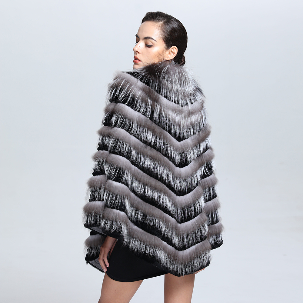 Fashion Design Knitted Winter Warm Real Fox Fur poncho