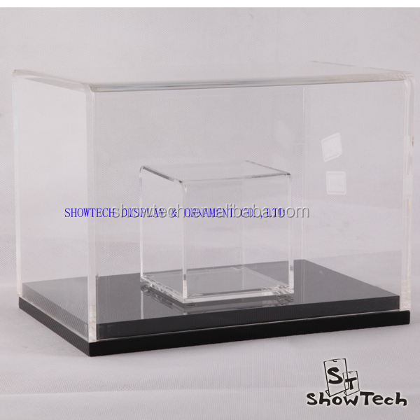Beatiful black base clear acrylic outline design small show case with good quality ST-AF3X14BK E02
