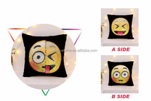 Wholesale Cheap Square Emoji Sequin Fabric Changing Color Christmas Throw Pillow Case,Reversible Sequin Pillow