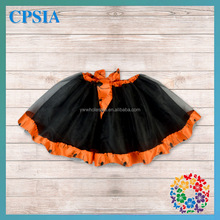 Wholesale halloween baby girls black tutu skirt with orange satin ruffled fashion baby tutu