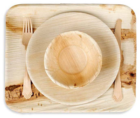 Disposable natural areca palm leaf plate bowl tray and banana leaf plates cutlery palm leaf tableware