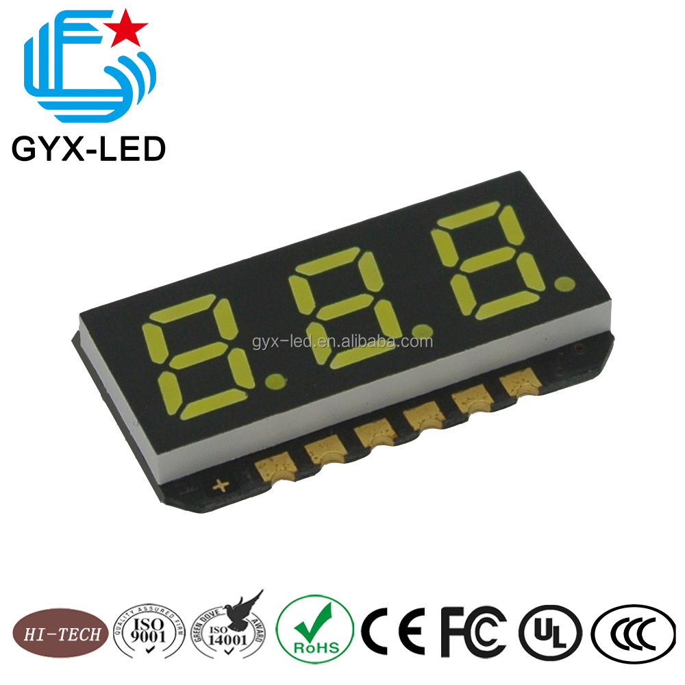 GYXLED-High brightness good reliability 3 digit seven segment smd led <strong>display</strong>