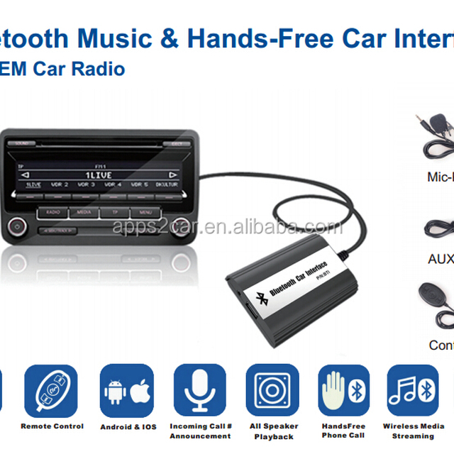 Apps2car Bluetooth Cassette Adapter USB Aux-In MP3 Player Converter for Honda Goldwing GL1800