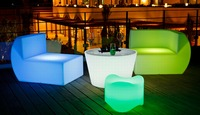 illuminated table with glass top/led table for bar