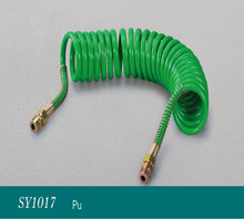 green PU coiled air hose/ Truck Trailer Power Air Brake Lines Flexible