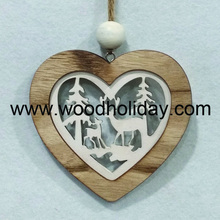 Laser Cut Wood Heart Ornaments Wooden Christmas Heart Decorations for valentine decorations