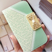 fashion bag wallet leather case for samsung galaxy s6 lovely girls case