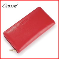 100% women genuine leather wallets top layer cowhide leather female simple style purses with zip pocket and 2 layers cossni 659