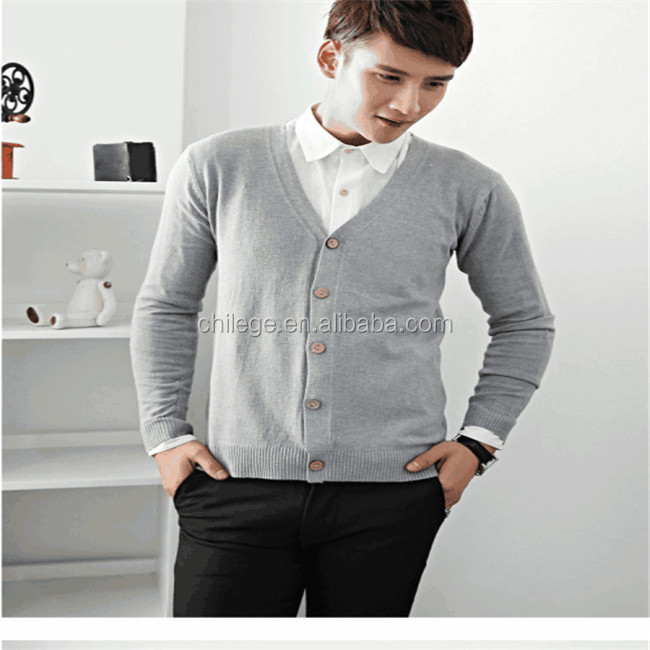Men's wool cashmere blend knitted lapel collar V neck button sweater cardigan