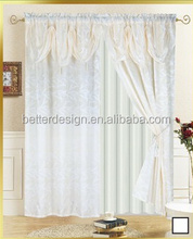100% POLYESTER SATIN WINDOW CURTAIN SETS WITH VALANCE,TAFFETA LING,& 2 TASSELS