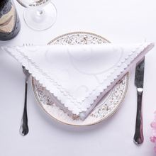 6pc/lot 46x46cm Embroidered Flower Wedding Table Napkins Cloth Nylon Cotton Satin Wedding Table Decoration White Purple Orange