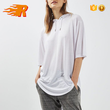 OEM Curved Hem Hip Hop Hooded Oversized Women's Blank White T-shirt