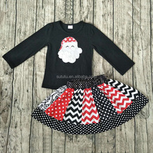Hot Sale Fashion Girls christmas Dresses black with embroidery and stripes matching dress kids old fashioned clothes