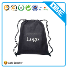 Black Promotional Drawstring Bag With Customized Logo Printed