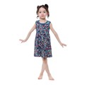 New Year's Printed Knitted Cotton One Piece Girls Party Dress