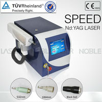 2013 high energy double treatment heads adjustable spot size 1064nm/532nm nd:yag laser tatoo removal machine on sale