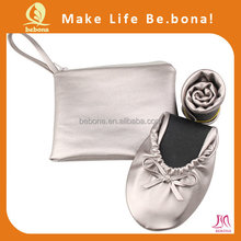 2015 new arrival fancy design women shoes fold up ballerina shoes in bag ladies wedding wear shoes