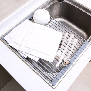Multipurpose Roll Up Dish Drying Rack Stainless Silicone Colander Foldable Sink Drainer Tray Storage Rack