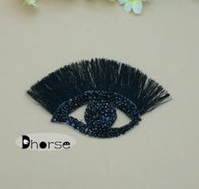 New 2015 shinning eyelash eye black resin stone beaded applique motif for garment decoration DHBP1605