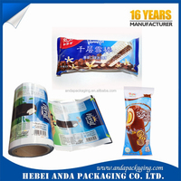Printing plastic roll film popsicle packaging/ freeze food bag ice lolly clear film with color
