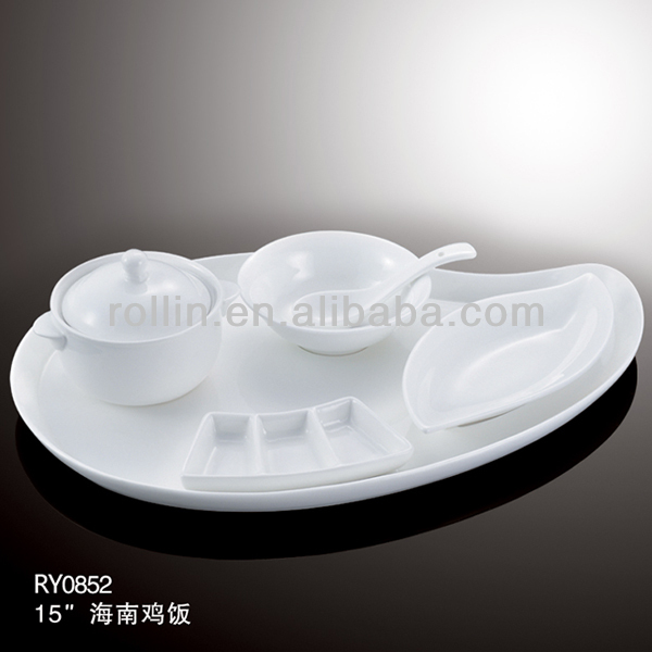 healthy durable white porcelain Hainanese chicken rice plate