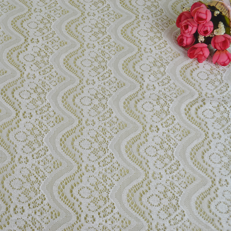 2017 women bright white dress nylon /spandex Knitting lace fabric