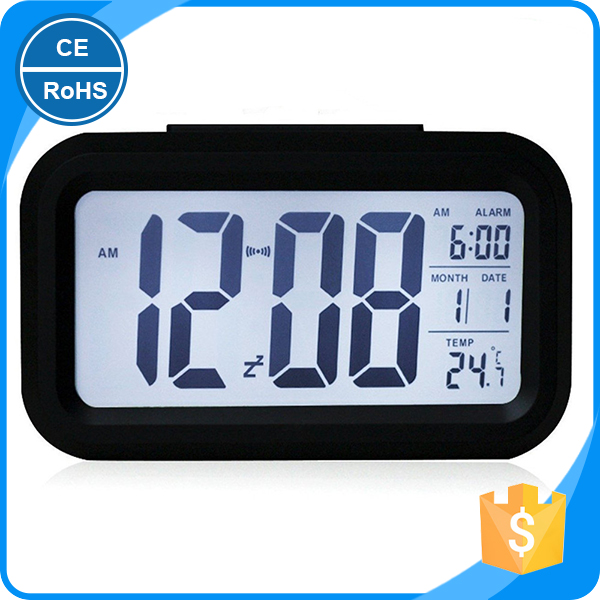Digital Alarm Clock Desk Calendar Humidity Thermometer AM PM Snooze Function Clock LCD Display Backlight Clock