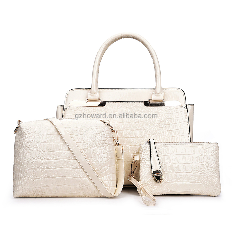 Crocodile patent PU leather bag 3 pcs in one set bags wholesale price