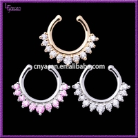 Best Hot Sell Brass Material Single Line Piercing Multi Gems Nose Ring