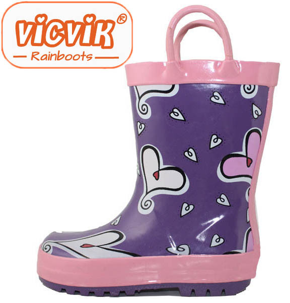 2015 china new heart print girl's manual wellies