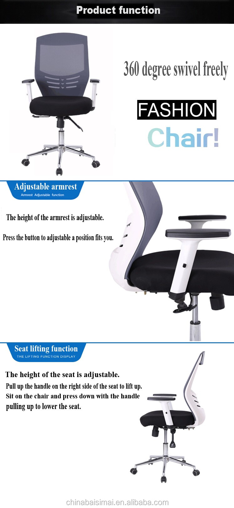 D34# No folded and office furniture modern best swivel office chair for bad hips