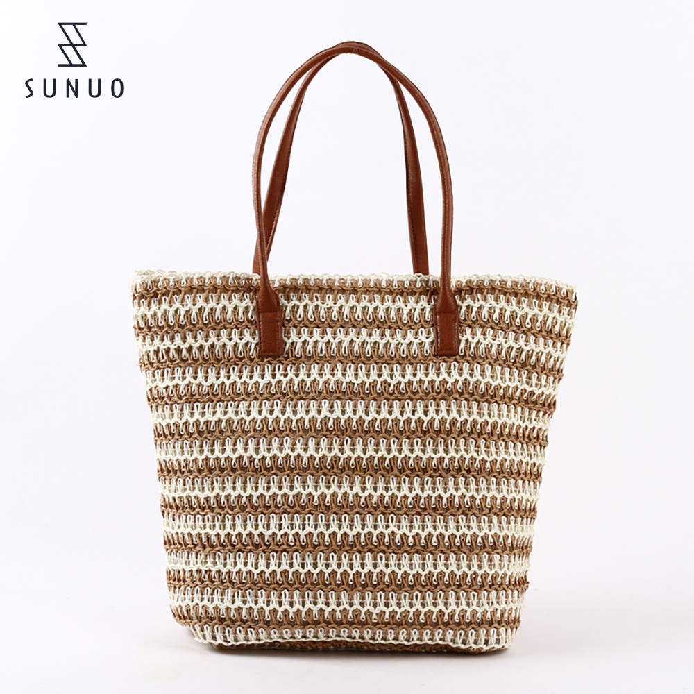 Straw Beach Bags With Leather Handles