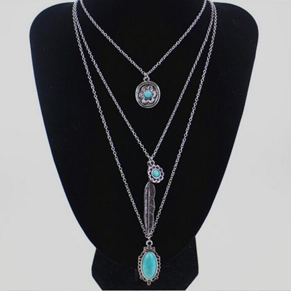 Daihe Vintage Multi-Layer Long Chain Turquoise Bohemian Necklace <strong>Jewelry</strong>