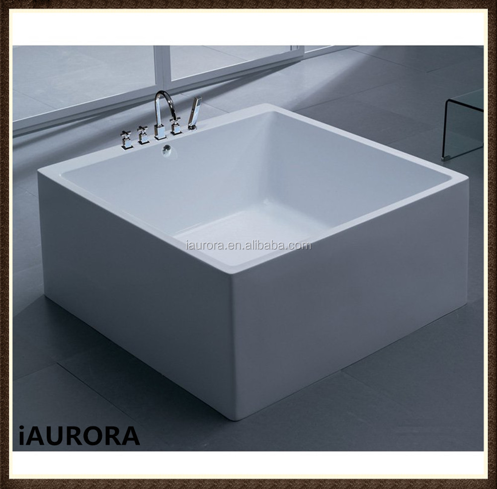 Square shaped small freestanding acrylic 1200mm bathtub for Square narrow shape acrylic