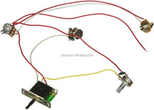 1 set Wiring Harness Prewired,5-way Switch,jack 500k Pots,for Guitar,5Way1V2T1J